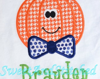 Boys Personalized Pumpkin Shirt - Pumpkin with Bow Tie Design for boys Halloween shirt, Thanksgiving shirt, Fall Shirt for boys