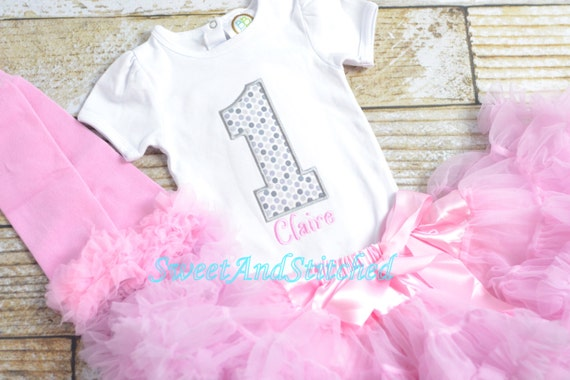 Pink and Silver First (1st) Birthday Outfit, Pettiskirt tutu - First birthday outfit, birthday pettiskirt! pink cake smash outfit