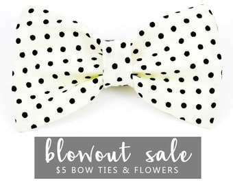 "Dog Bow Tie Collar Accessory Sale Ready to Ship White & Black Polka Dot ""Polka Doo"""