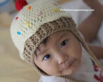 Cupcake Earflap Crochet Hat