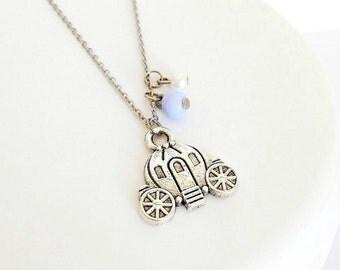 Girls Cinderella Inspired Pumpkin Carriage Necklace