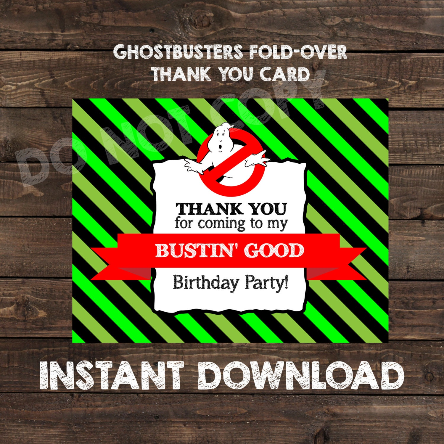 Instant Download Ghostbusters Birthday Party Theme Fold Over