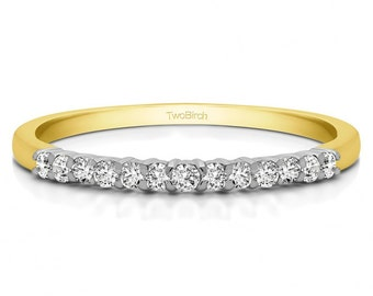 Double Shared Prong Thin Wedding Band Set in  Sterling Silver and White Sapphire (.16ct)