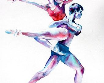 Original Watercolor Painting - Portrait of dancers. Couple portrait. Shades Of Cool