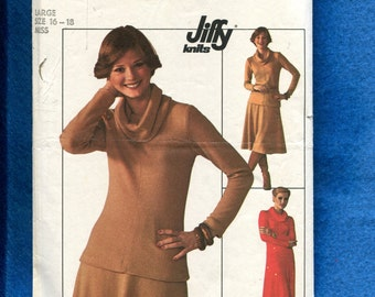 1970's Simplicity 7750 Retro Classic Cowl Neck Tee Shirt Dress or Top & Skirt  Size Large 16/18