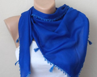 royal blue scarf cotton scarf blue scarf wrap yemeni scarf women scarf oya scarf gift for her