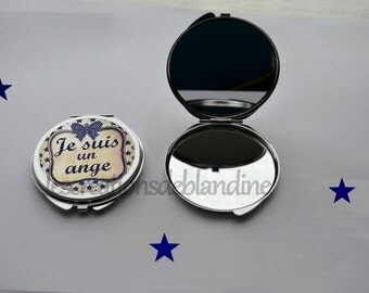 """double Pocket mirror """"I am an Angel"""" in metal"""