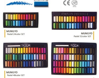 MUNGYO Soft Pastels Half Length Square Chalks Vivid 24/32/48/64 Colors Set best paper for pastel drawing