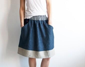 Flared skirt, linen skirt, summer skirt, skirt with pockets, blue skirt, skirt with hearts, women skirt, knee length skirt