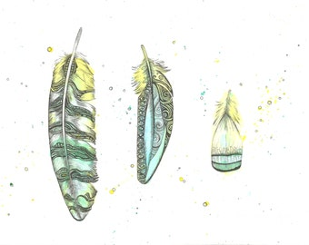 Triple Feather Giclee Art Print