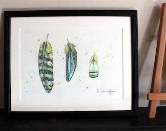 Triple Feather Original Art