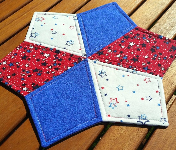 Patriotic Stars Table Topper Americana Quilted Periwinkle