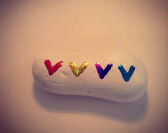 Rainbow love hearts pebble 7cm