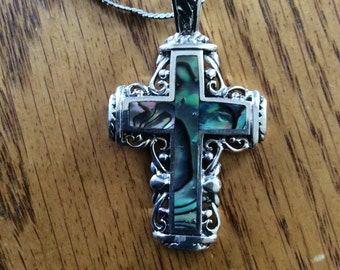Sterling Silver and Abalone Cross