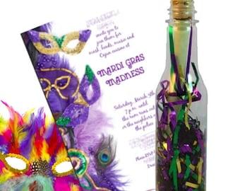 Mardi Gras Party Invitation by Invitation In A Bottle ™, (Set 12) Masquerade Invitation, Mardi Gras Celebration, Mardi Gras Invite
