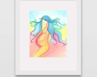 Wild Mother Watercolor Print Wall Art