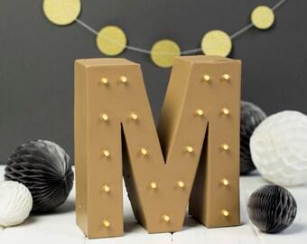 Letter m light, wedding initials, light up initial, nursery light, handmade marquee light, bespoke wedding sign