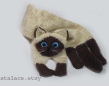 Mohair Long Scarf Siamese Cat Scarf Knitting Cat Scarf Animal knitting scarf-Cat Lover