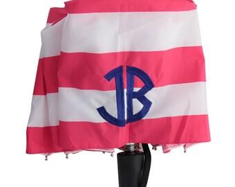 Personalized Umbrella: Strawberry Stripes  -More Thread Colors/Fonts