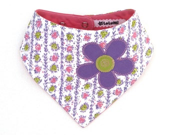Flower Patch Baby Bib – Vintage and Upcycled Limited Edition Purple and Pink Flower Bib - Bib #12