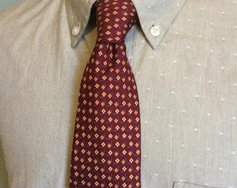 SALE Countess Mara Burgundy/Gold Floral Foulard Pattern Men's Silk Necktie c1970s