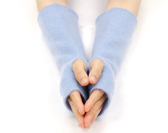 Handmade Cashmere Fingerless Gloves, Arm Warmers, Texting Gloves, Upcycled Felted Cashmere Gloves, Recycled, Eco Friendly, Periwinkle Blue