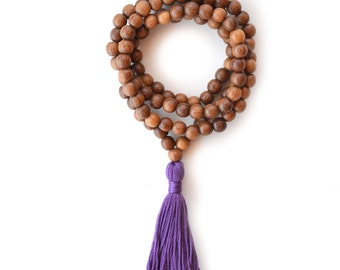Purple Prayer Beads, 108 Handmade Tibetan Buddhist Mala Beads, 108 Brown Meditation Necklace, Eggplant Tassel
