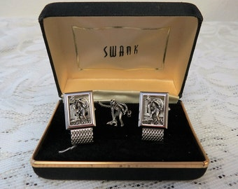 Fly Fishing Cufflinks and Tie Tack Swank Original Box - Mens Gift - For Him
