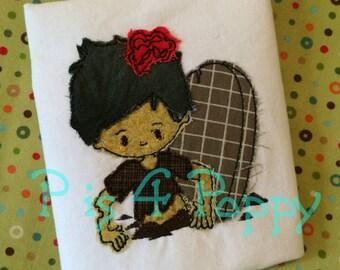 Bean stitch Zombie boy at gave applique instant download design