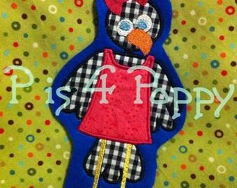 Crow girl wearing dress applique design instant download