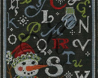 Handpainted Needlepoint Christmas KELLY Clark ABC Winter Chalk Sampler -Free US Shipping!!!
