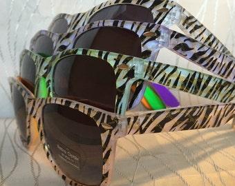 Zebra print sunglasses for your wild bachelorette/bachelor party