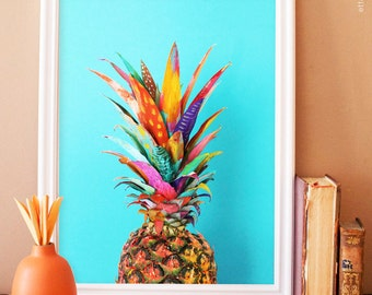 Painted Pineapple art print. kitchen photography. kitchen art print. fruit kitchen art.