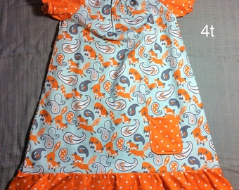 4t fox peasant ruffle dress