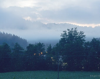 Landscape photography,Hills picture,Foggy landscape,Fine Art,Photography,Trees foto,Grass,Night,Dark,After sunset,Art Picture,Before night