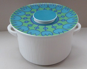 HUGE Vintage Thomas (Rosenthal) Flammfest Ribbed Casserole Dish with Stylised Green Tulips Pattern on Lid. 1970s