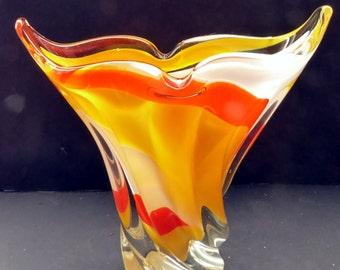 Unusual 1960s Italian Glass Striped Vase. Fan Shapes with Barley Sugar Twist at Base