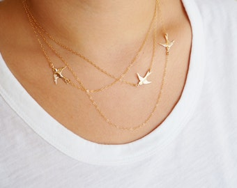 Flying Birds Necklace, Three Layered Necklace, Available in Sterling Silver, Gold Filled and Rose Gold Filled