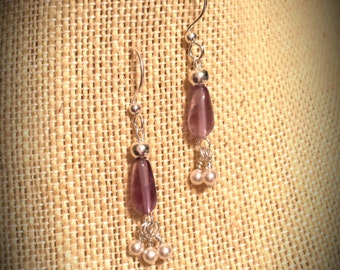 Light Purple Amythest Drop Earrings with Cream Swarovski Crystal Pearls on Silver Finished Brass Earrings Amythest Teardrop Earrings