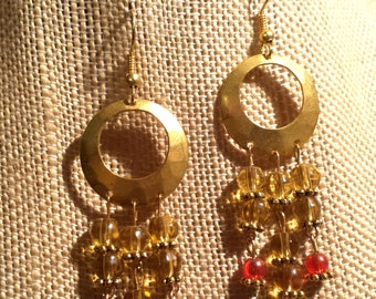 Crystal Clear Yellow and Strawberry Orange Glass Earrings Dangling from Stamped, Gold Finished Steel.Disc Earrings Yellow and Gold Earrings