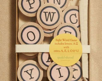 Alphabet Word Game- Wood Letters - Eco Friendly- Waldorf- Birthday Gift - Party Favor - Sight Word Game -Travel Game- SIght words