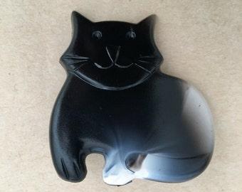 Vintage black white cat hair barrette clip made in France