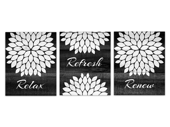 Black And White Bathroom Wall Art INSTANT DOWNLOAD Relax