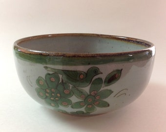 Ken Edwards El Palomar Small Mixing, Serving Bowl, Green And Brown, Bird, Butterfly, Flowers, Vintage Mexican Pottery Ceramic Bowl