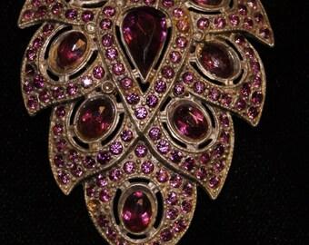 Vintage Rhinestone Dress Clip--Purple Deco Leaves