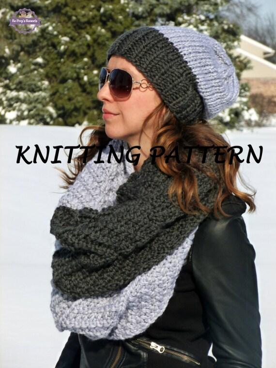 Stocking Stitch Knitting Patterns : KNITTING PATTERN Two-Tone Hat and Infinity Scarf - Knit Cowl Pattern - Slouch...
