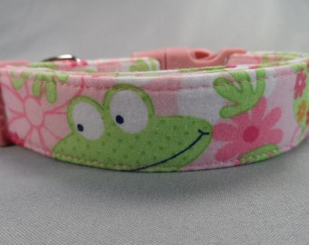 Dog Collar Pink Frogs and Flowers