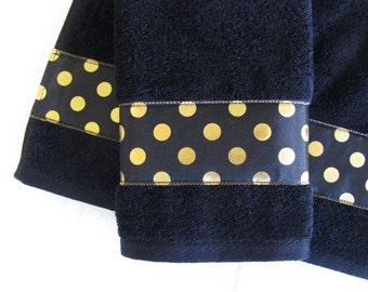Black Gold Towels,  hand towels, bath towels, custom towels, gold, gold polka dots, black, black bathroom, bathroom decor, black towel, bath