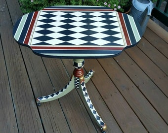 """Whimsical Black and White Check and Harlequin French Country Side End Table """"Harlequin Twin"""""""