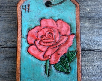 La Rosa Leather Loteria Key Ring Tag